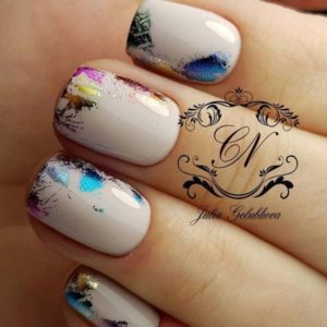 metallic colour nail foil on beige nails