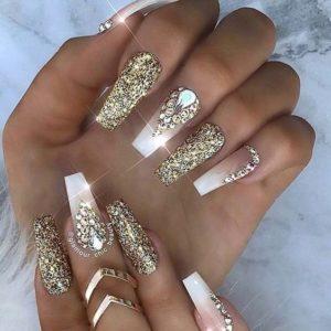 French manicure and gold glitter polish