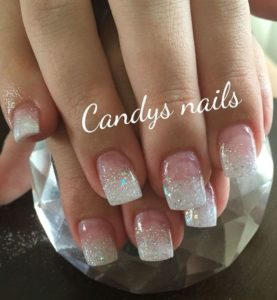 Clear nail glitter on white tips