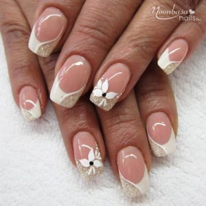 Half white and half gold french manicure