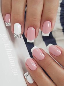 Rhinestones on accent nail tips