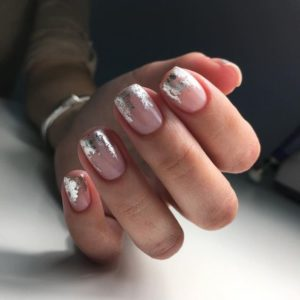 French manicure with nail foil on tips