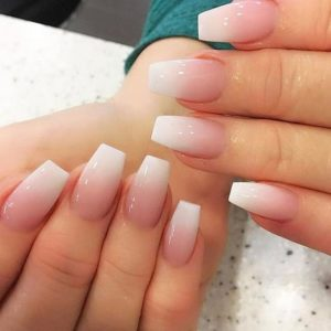 Natural ombre into white tips