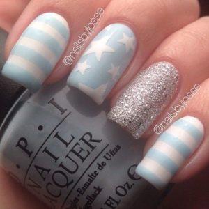 blue stripes on white nails