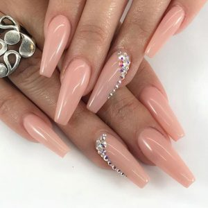 nude rhinestone one nail