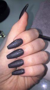 sparkly dark grey nail polish