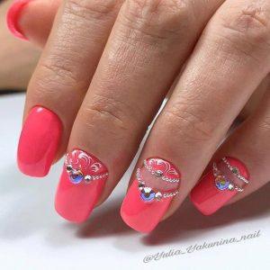 rhinestones on nails to create tiara looking design