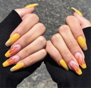 Fire designs from nail tip
