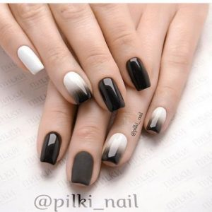 white to black ombre on accent nails