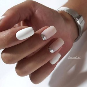 Silver nail beds on nude base
