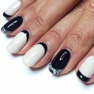 Dark edges on white nails