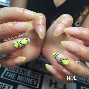 geometric designs with neon yellow