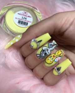 loony toons characters on yellow nails
