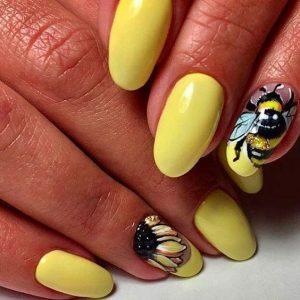Part of a sunflower nail art