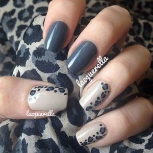 leopard print down the side of nail