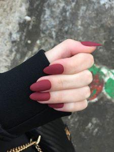 Matte Wine Red Almond Nails