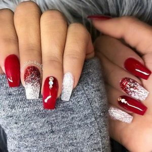 Red and Glitter Nails with Diamonds