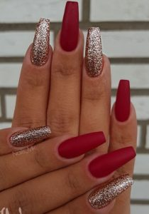 Matte red holiday christmas nails
