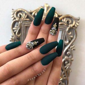 matte green dark rhinestone