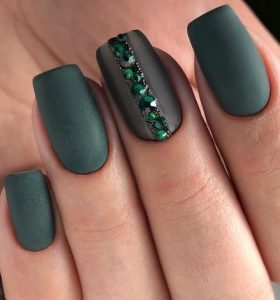 matte green rhinestones
