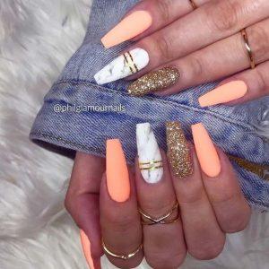 matte peach glitter