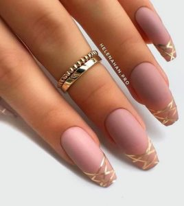 matte nude gold stripe