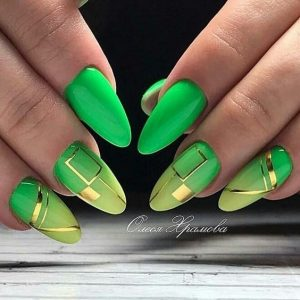 neon ombre green gold
