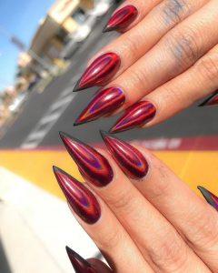 iridescent red black edge