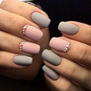 Matte Grey Pink Acrylic Nails