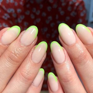 bright green french tip