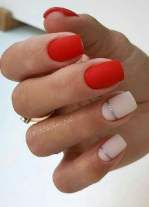 red matte short silver stripe