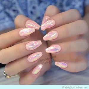 pale pink holo finish