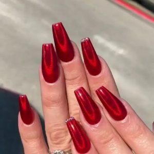 chrome coffin nails