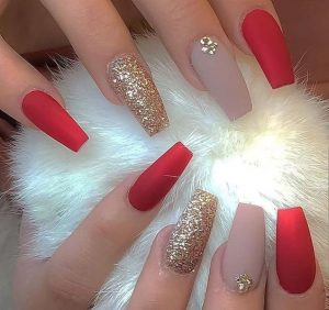 matte red nude gold