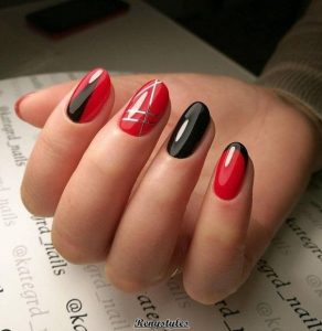 red with touches of black