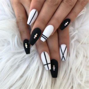 matte white and black stripe
