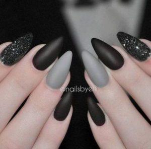 grey black glitter matte acrylic