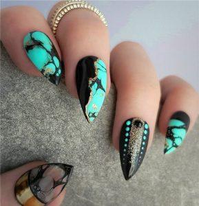 teal black modern stiletto
