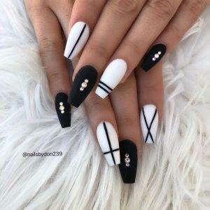 striped white black matte acrylic