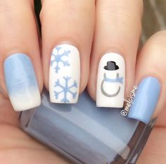 blue snowman and flakes