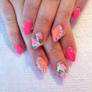 coral pink flower stiletto