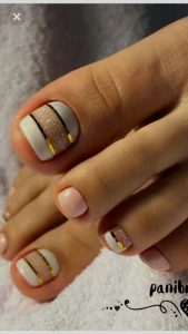 gold stripe clear design toes