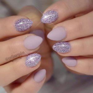purple glitter short stiletto