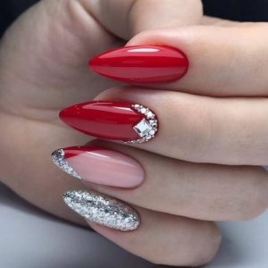 stiletto red silver french