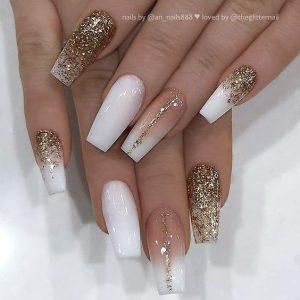 glitter stripe ombre white