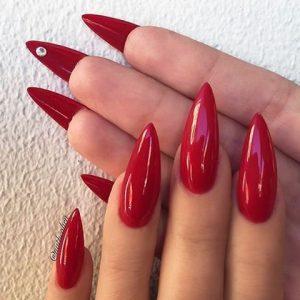 rhienstone under nail red