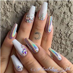 iridescent with white rhinestones