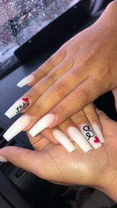 personalized white nails