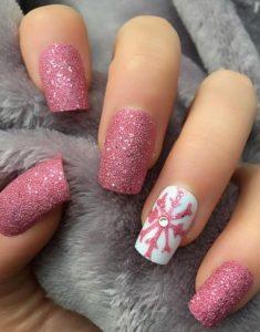 glitter pink snowflake