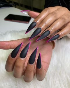 outlined in pink matte